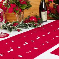 Reindeer Felt Table Runner - Red